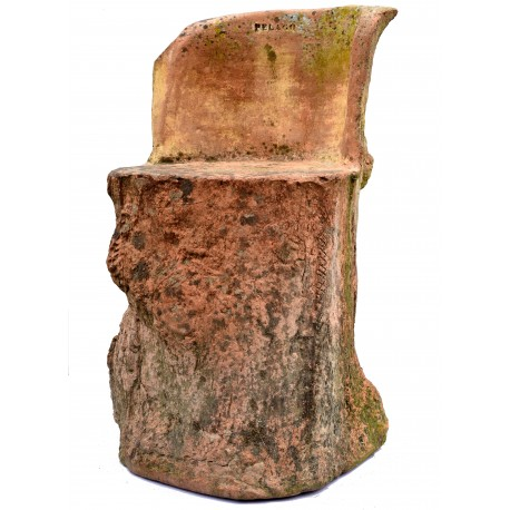 Original ancient rare terracotta seat By Pelago manufacture (Florence)