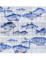 pannello pesci blu su fondo bianco