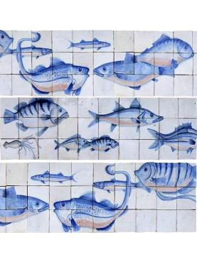 Pesci blu indaco su base bianca