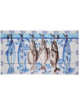 Pannello portoghese con 6 pesci merluzzi maiolica
