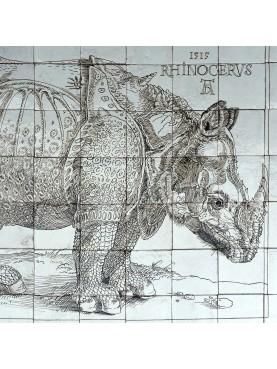 Durer rhino majolica tiles panel - 70 tiles