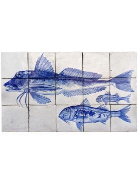 pannello maiolica 15 piastrelle 15x15 cm triglie e gallinella