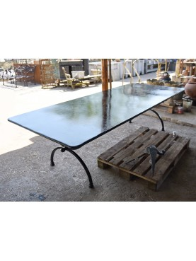 Rectangular forged iron table 260 cm Porcinai two legs