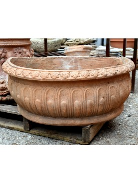 Antique semicircular terracotta basin from Impruneta