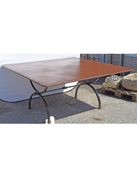 Square forged iron table 170 x 170 cm Porcinai