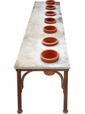 Vecchio Supporto per vasi in ferro e marmo bianco di Carrara