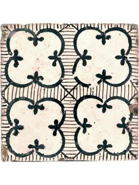Piastrella di maiolica antica manganese