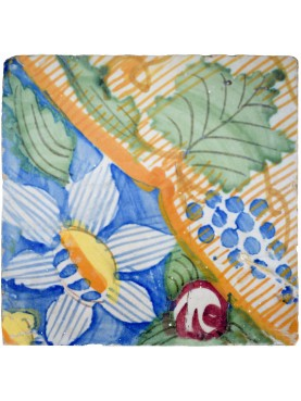 Antiche Piastrelle Maiolicate Fiorate Blu e Verdi