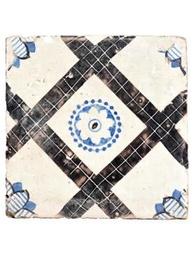 Piastrella di maiolica antica manganese e blu