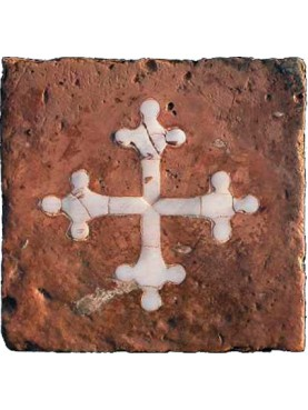 Terracotta tile with Pisa cross