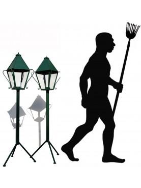 Torciera con lanterna in ferro battuto