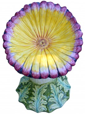 Red daisy with white points - majolica stool