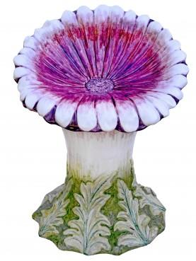 Margherita rossa - petali con punte bianche - sedile maiolica