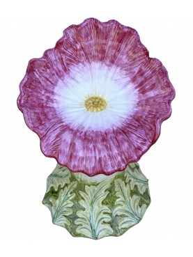 Majolica seat - rose and white pansy
