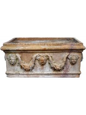 Antico Cassonetto Esposito Festonato Napoletano in terracotta