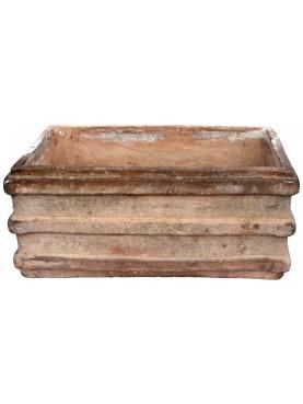 Antico Cassonetto a righe Napoletano in terracotta