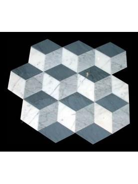Optical marble floor rhombuses shape