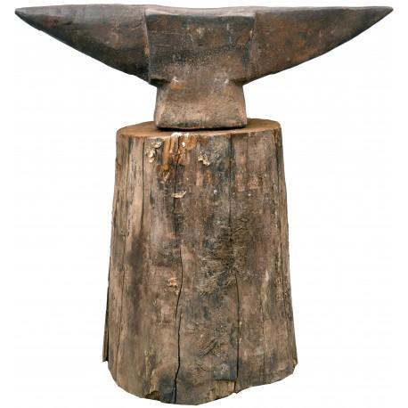 Incudine antico in ferro e ceppo in legno