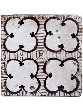 Ancient italian Majolica tile - manganese