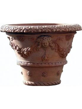 Vaso da Limoni con festoni da 80 cm terracotta Impruneta conca