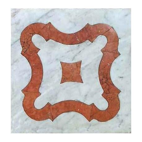 White Carrara marble and Red Verona marble