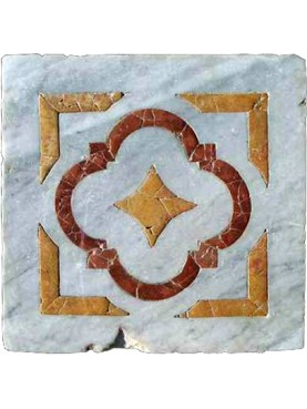 Ancient floor tile with inlay polychrome marbles