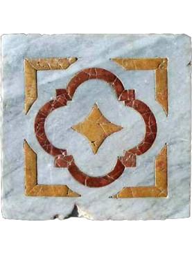 Piastrella antica con tarsia in marmi policromi