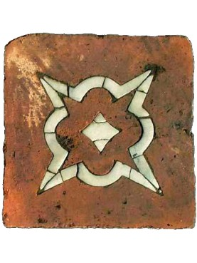 Tuscan terracotta square tile with inlaid with white Carrara marble