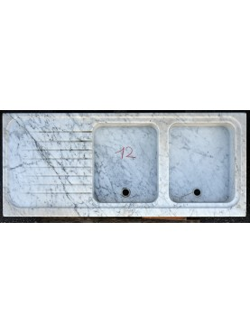 Ancient Tuscan white Carrara Marble sink double basin