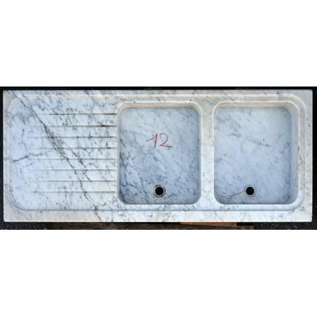 Lavandino di Carrara doppia buca in marmo bianco