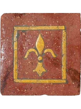 Ancient tuscan bricks inlaid with royal yellow or yellow siena marble