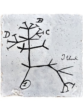 Charles Darwin Tree majolica Tile - human evolution - Darwinism