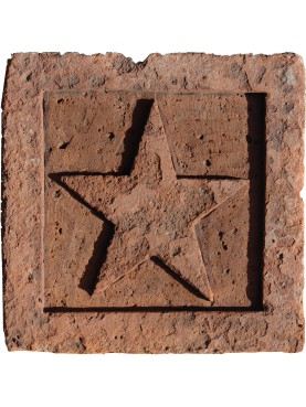The Pentacle sculpted on antique terracotta tile