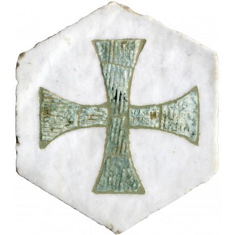 Esagonetta antica in marmo bianco con intarsio in cipollino