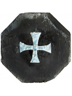 ancient Slate Hexagon with cipollino tarsia