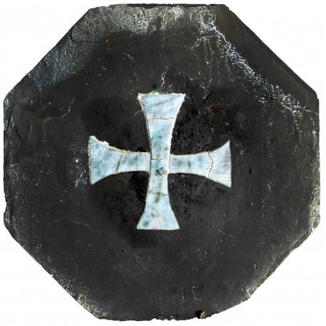 ancient Slate Hexagon with cipollino tarsia