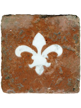 Terracotta tile with Florentine marble Lily