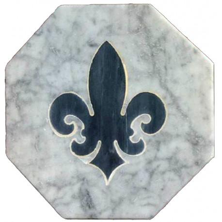 Piastrella ottagonale antica in marmo bianco con tarsia