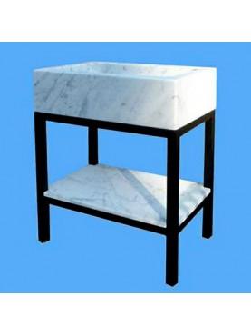 Lavandino minimalista marmo bianco Carrara con supporto