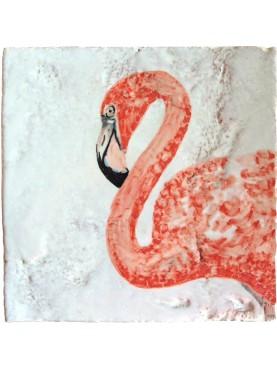Majolica tile phoenicopterus flamingos 15x15 cm