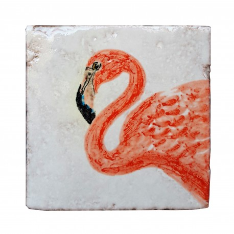 fenicottero rosa piastrella di maiolica 10x10 cm