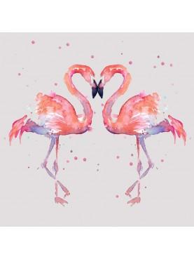Fenicottero Flamingo pannello di 35 piastrelle in maiolica