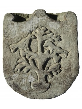 Stone coat of arms - tree with birds