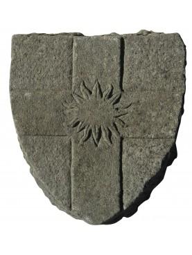 Stemma in pietra croce genovese con sole su scudo