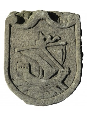 Stone coat of arms medieval ship