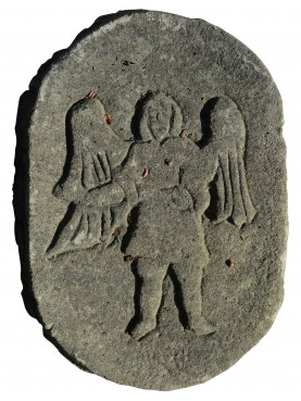 Angel, Sacred image on stone shield