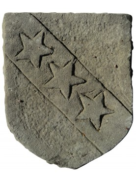 Stone coat of arms three stars