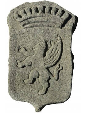 Stone coat of arms rampant lion