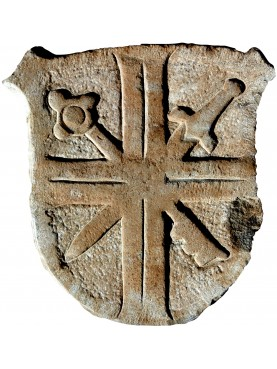 Stemma in pietra spada e chiave incrociate