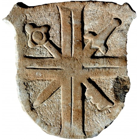 Stone coat of arms crossed sword and key